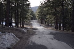 Strada diritta in montagne Fotografie Stock