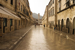 Strada of Dubrovnik. The Strada is the main shopping street and gathering area in the city of Dubrovnik in Croatia but before 8am it is still virtually empty of royalty free stock photos