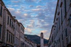 Strada Dubrovnik przy zmierzchem obrazy stock