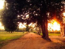 Strada durante il tramonto Fotografia Stock Libera da Diritti