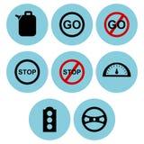 Strada e progettazioni dell'icona di traffico Immagini Stock