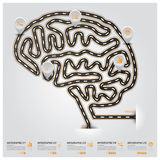 Strada e via Brain Shape Traffic Sign Business Infographic Immagine Stock Libera da Diritti