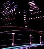 Strada ed indicatori luminosi di notte. illustrazione di stock