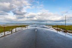 Strada fra Beal e l'isola santa, Inghilterra, Regno Unito fotografia stock libera da diritti