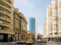 Strada General H. M. Berthelot  in bucharest Romania. BUCHAREST, ROMANIA - APR 1, 2016: Large view over Bucharest street - Strada General H. M. Berthelot on a Stock Image