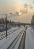 Strada ghiacciata Fotografie Stock