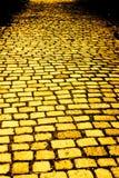 Strada gialla del mattone Fotografie Stock