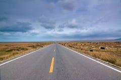 Strada infinita in un tempo nuvoloso Immagini Stock Libere da Diritti