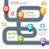 Strada Infographic con posizione Mark Elements Vettore Immagine Stock