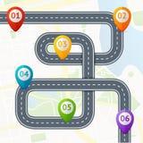 Strada Infographic con posizione Mark Elements Vettore Immagini Stock