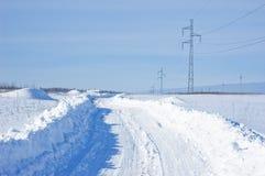Strada innevata di inverno Fotografie Stock