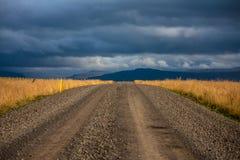 Strada Islanda della ghiaia Fotografia Stock Libera da Diritti