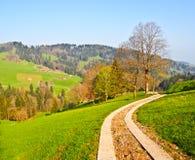 Strada locale al ville dell'azienda agricola di Appenzell immagini stock libere da diritti
