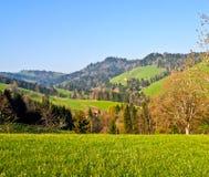 Strada locale al ville dell'azienda agricola di Appenzell fotografie stock libere da diritti