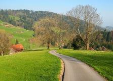 Strada locale nel villaggio Svizzera dell'azienda agricola fotografia stock libera da diritti