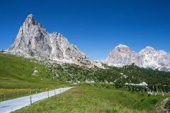 Strada maestra Passo di Giau, Dolomiti, Italia Fotografia Stock Libera da Diritti