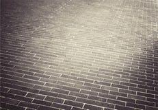 Strada marrone chiaro della via della pietra del mattone marciapiede Fotografia Stock Libera da Diritti