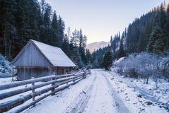 Strada in montagne carpatiche, Ucraina di inverno Casa di inverno in neve Fotografia Stock