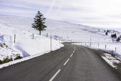 Strada in montagne - inverno i Vosgi, Francia fotografie stock libere da diritti