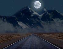 Strada Moonlit della montagna Immagine Stock Libera da Diritti