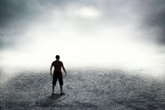 Strada in nebbia spessa Fotografia Stock