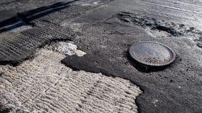 Strada necessitante la riparazione Fotografia Stock Libera da Diritti