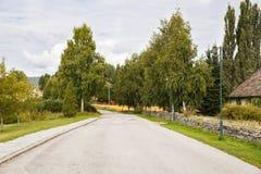 Strada nel villaggio della Norvegia Fotografia Stock