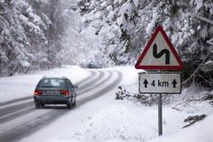Strada nella foresta di inverno Fotografie Stock Libere da Diritti