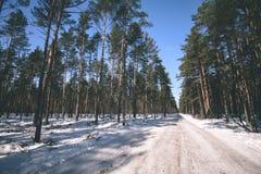strada nevosa di inverno coperta in neve profonda - lo sguardo d'annata pubblica Fotografie Stock Libere da Diritti