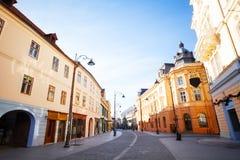 Strada Nicolae Balcescu in sunshine, Sibiu city Royalty Free Stock Image