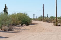 Strada non asfaltata attraverso il deserto con vegetazione e le linee elettriche pesanti fotografia stock libera da diritti