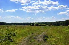 Strada non asfaltata del campo Cielo blu e nubi Fotografia Stock