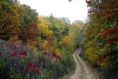 Strada non asfaltata del paese in autunno Immagini Stock Libere da Diritti