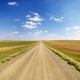 Strada non asfaltata del paese fra i campi Fotografia Stock Libera da Diritti