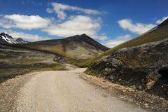 Strada non asfaltata dell'Islanda Fotografia Stock Libera da Diritti