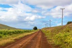 Strada non asfaltata dell'isola di pasqua Fotografia Stock Libera da Diritti