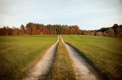 Strada non asfaltata diritta nel paesaggio autunnale Fotografia Stock Libera da Diritti
