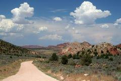 Strada non asfaltata a distanza del deserto fotografia stock