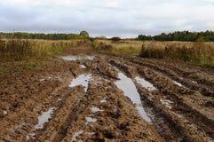 Strada non asfaltata rurale sudicia dopo la pioggia Fotografia Stock Libera da Diritti