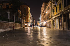 Strada Nuova w Wenecja przy nocą Zdjęcie Royalty Free