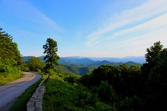 Strada panoramica blu del Ridge Fotografia Stock