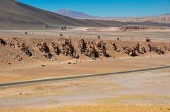 Strada a Paso de Jama nel Cile del nord Fotografia Stock Libera da Diritti