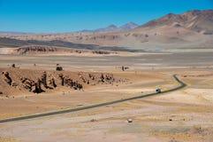 Strada a Paso de Jama nel Cile del nord Immagine Stock