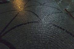 Strada pedonale del ciottolo bagnato alla notte al parco di Gezi, Costantinopoli, Turchia immagine stock libera da diritti
