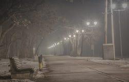 Strada pedonale sulla notte nebbiosa Fotografie Stock Libere da Diritti