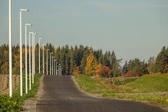 Strada/percorso della bici con le iluminazioni pubbliche bianche immagini stock libere da diritti