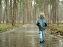 Strada piovosa lunga avanti Immagini Stock
