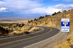 Strada principale 50 del Nevada Fotografia Stock Libera da Diritti
