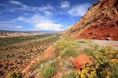Strada principale 95 dell'Utah lungo il pettine Ridge Fotografia Stock