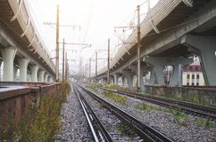 Strada principale ad alta velocità sulle alte colonne al fondo della ferrovia Fotografia Stock